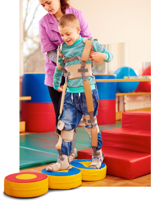 Child with cerebral palsy receiving physical therapy